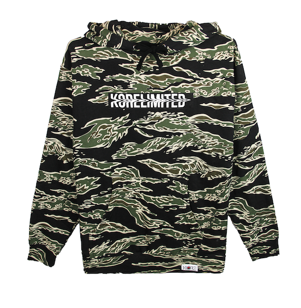 Front view of tiger camo (limited edition) pullover hoodie with white KORELIMITED printed on a black box. KORE Limited - Keepin Our Roots Eternal
