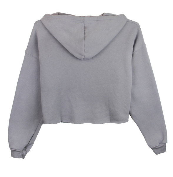 Back view of storm (grey) crop top hoodie. KORE Limited - Keepin Our Roots Eternal