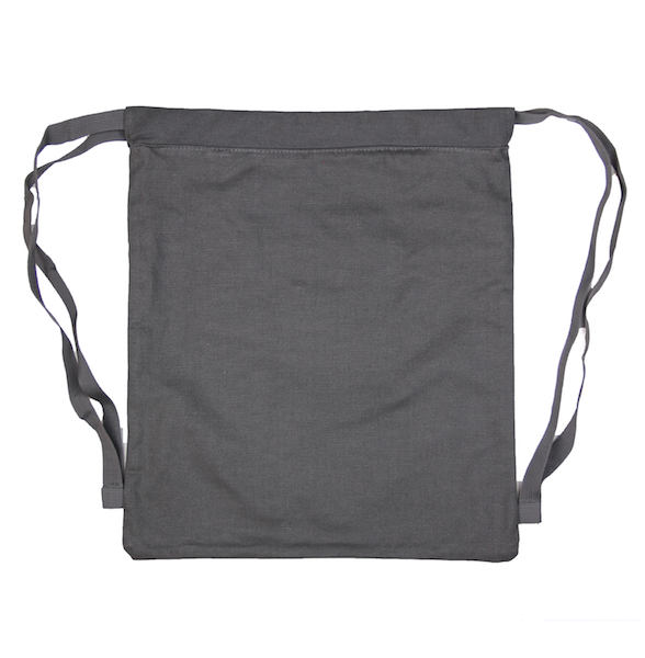 Back view of charcoal drawstring canvas bag with KRLTD embroidered below zipper.