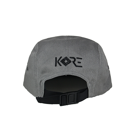 Back view of black KORE embroidery on a grey jockey cap. KORE - Keepin Our Roots Eternal