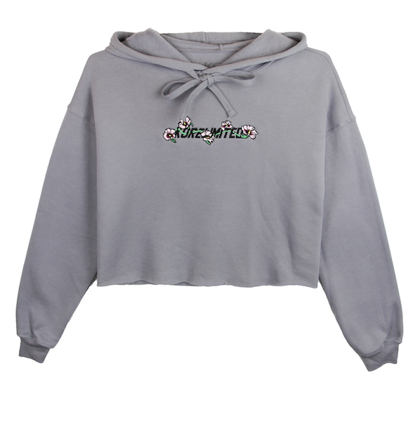 Front view of storm (grey) crop top hoodie with mugunghwa (rose of sharon) embroidery on the chest middle. KORE Limited - Keepin Our Roots Eternal