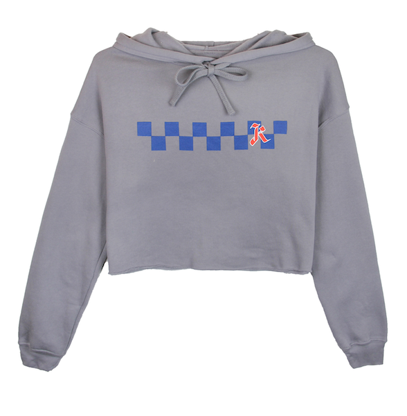 Front view of storm (grey) crop top hoodie with centered blue checkers and red k design print. KORE Limited - Keepin Our Roots Eternal