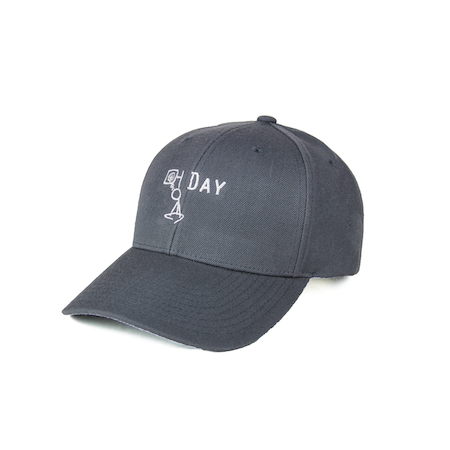 Front view of charcoal curved visor cap with a mungday graphic embroidered on the front.