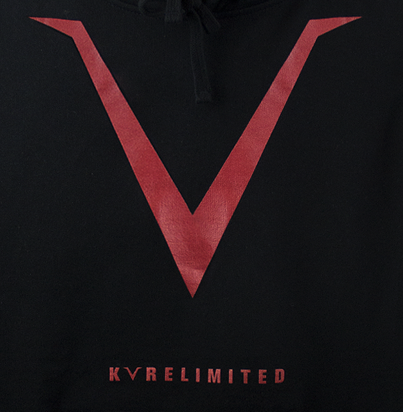 Zoomed view of our black KVRE hoodie with a large V chest print and KVRELIMITED print above the kangaroo pocket.