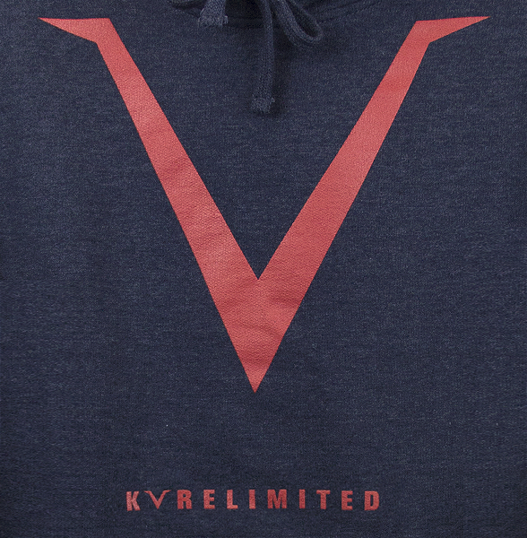 Zoomed view of our classic navy heather KVRE hoodie with a large V chest print and KVRELIMITED print above the kangaroo pocket.