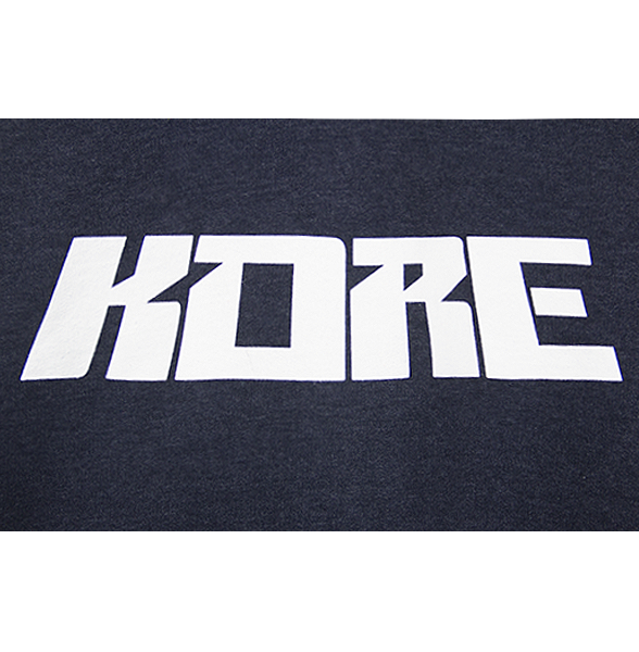 Zoomed view of our classic navy heather KVRE hoodie with KORE block letters.