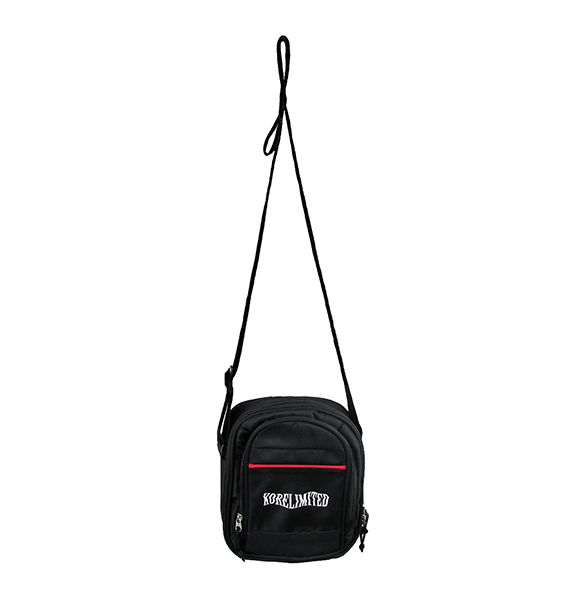 Front view of black leisure pack with a Korelimited embroidery on the front.