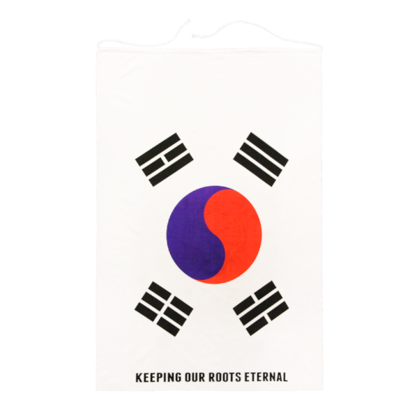 Front view of Korean Flag with Keeping Our Roots Eternal printed on the side.