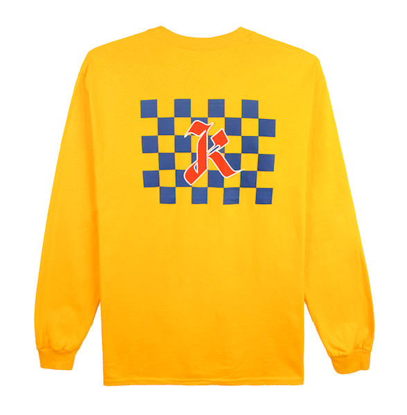 Front view of gold (yellow) long sleeve with centered blue checkers and red k design print. KORE Limited - Keepin Our Roots Eternal