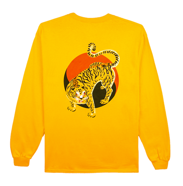Back view of gold (yellow) long sleeve with an illustrated Korean tiger in front of the Korean yin and yang. KORE Limited - Keepin Our Roots Eternal