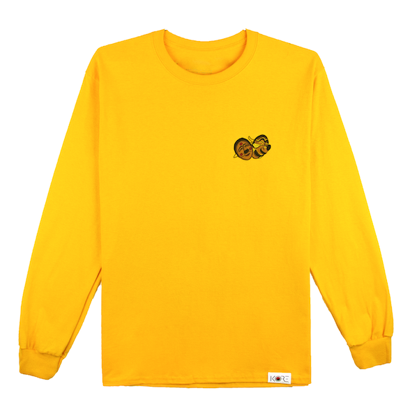 Front view of a gold champion tee with won over dollars embroidered on the chest.