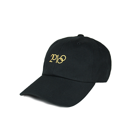 Front view of 2018 and Olympic rings embroidered in gold on a black dad hat. KORE - Keepin Our Roots Eternal