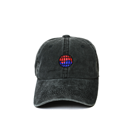 Front view of black washed dad hat with WorldWide embroidered on the front.