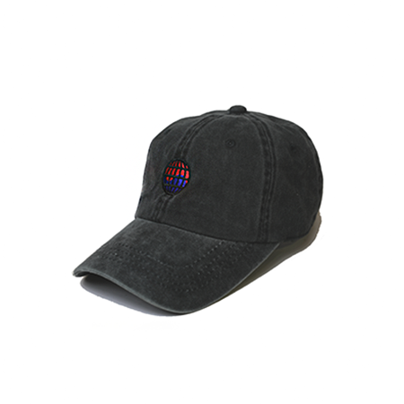 Side view of black washed dad hat with WorldWide embroidered on the front.