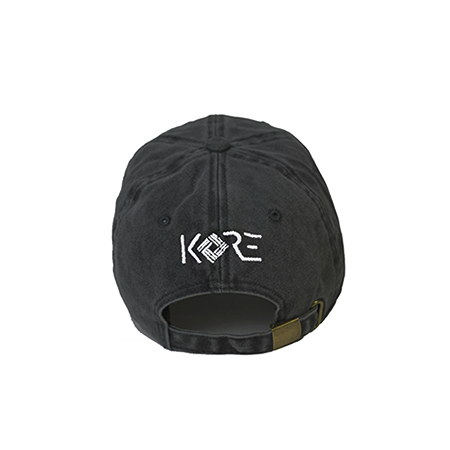 Back view of black washed dad hat with WorldWide embroidered on the front.