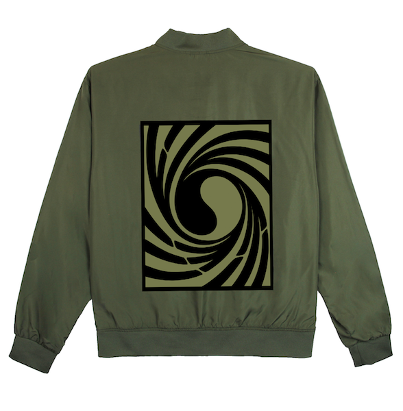 Back view of army green Tornado bomber jacket with centered twisted Korean Flag print. KORE Limited - Keepin Our Roots Eternal