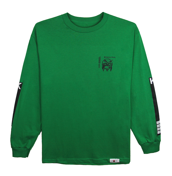 Front view of green long sleeve with black Bank of KORE chest design. KORE Limited - Keepin Our Roots Eternal