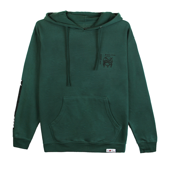 Back view of green pullover hoodie with centered black Won symbol on the Korean 10,000 won bill. KORE Limited - Keepin Our Roots Eternal