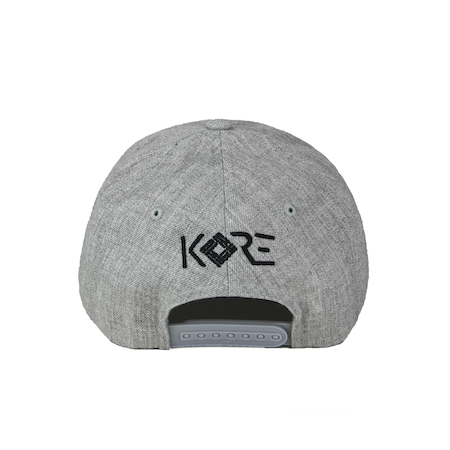Back view of heather grey curved visor cap with a mungday graphic embroidered on the front.