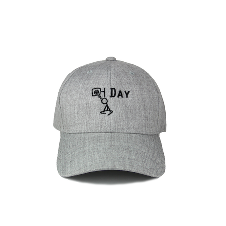 Front view of heather grey curved visor cap with a mungday graphic embroidered on the front.