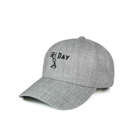 Side view of heather grey curved visor cap with a mungday graphic embroidered on the front.