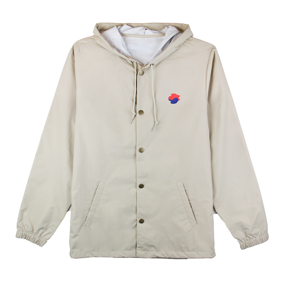 Front view of khaki jacket with made in korea printed on the back and taegeuk printed on the front.