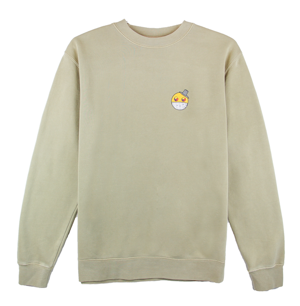 Front view of sandstone ComfortWash crewneck with cartoon character design on the chest.