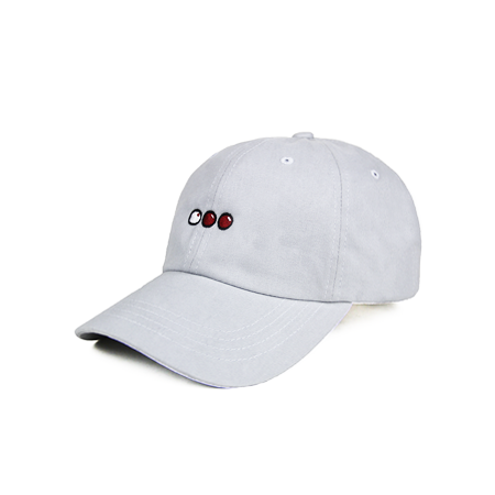Front view of light grey dad hat with billiard balls embroidered.