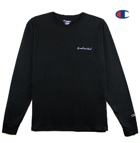 Front view of a black Champion jersey long sleeve with Korelimited Script embroidered over left chest.