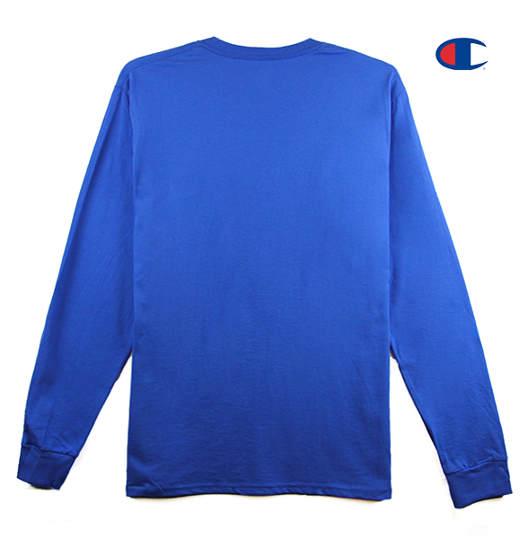 Front view of a royal blue Champion jersey long sleeve with Korelimited Script embroidered over left chest.