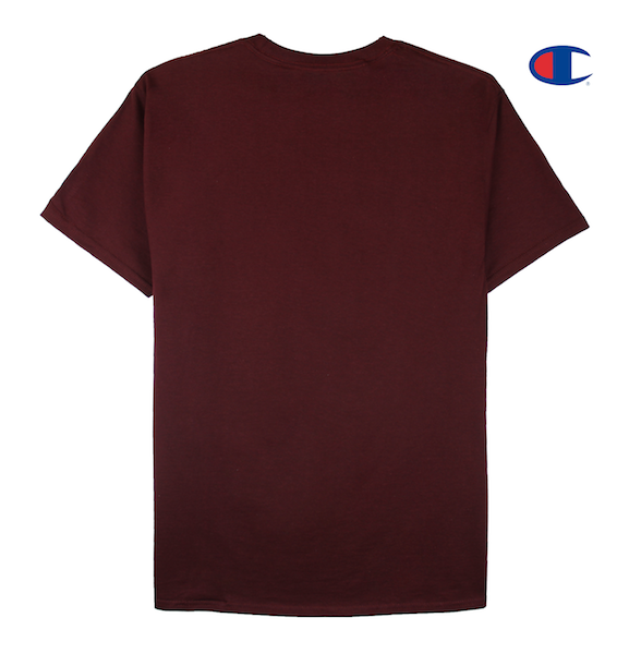 Front view of a maroon champion tee with won over dollars embroidered on the chest.