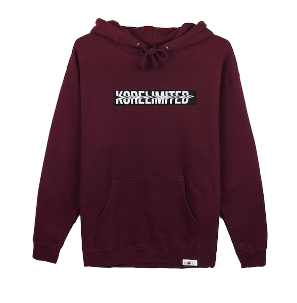 Front view of maroon pullover hoodie with white KORELIMITED printed on a black box. KORE Limited - Keepin Our Roots Eternal