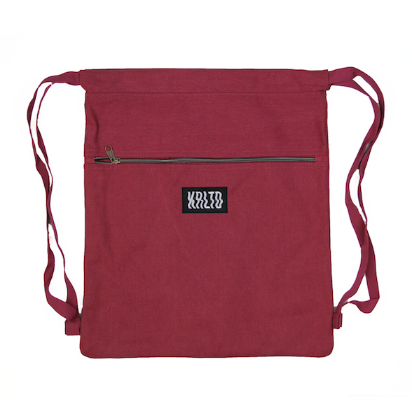 Front view of maroon drawstring canvas bag with KRLTD embroidered below zipper.