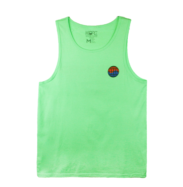 Front view of mint tank with worldwide print on the front chest.