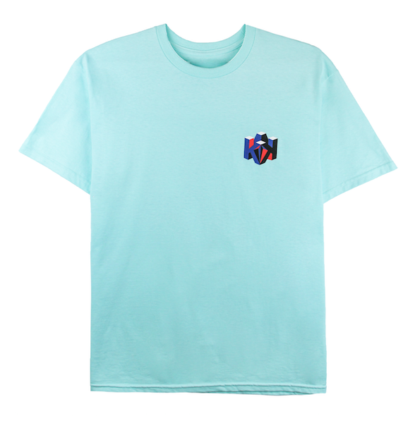 Front view of celadon tee with K88 design on the chest.