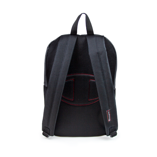 Back view of light grey and black Champion backpack. KORE Limited - Keepin Our Roots Eternal