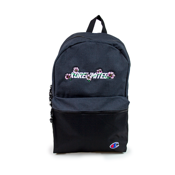Front view of two-tone Champion backpack. The mugunghwa (rose of sharon) embroidery is at the top dark grey half of the backpack. Bottom black half of the backpack has Champion C logo patched at the bottom right corner. KORE Limited - Keepin Our Roots Eternal