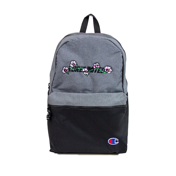 Front view of two-tone Champion backpack. The mugunghwa (rose of sharon) embroidery is at the top light grey half of the backpack. Bottom black half of the backpack has Champion C logo patched at the bottom right corner. KORE Limited - Keepin Our Roots Eternal