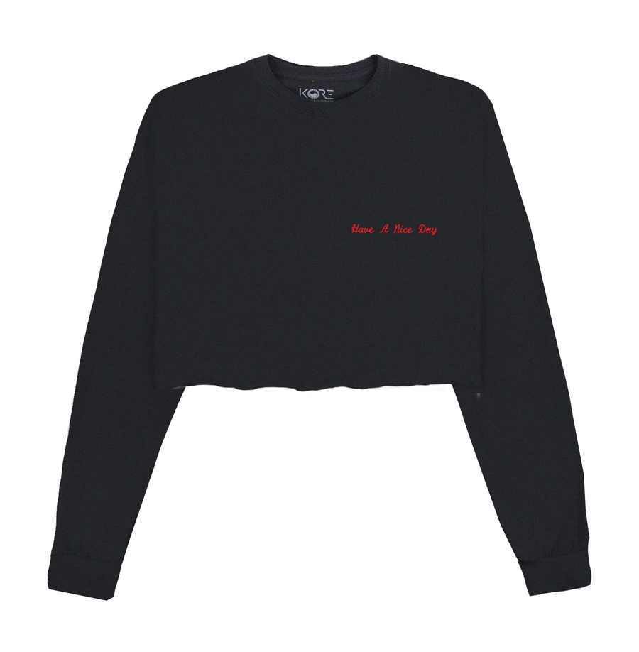 HAVE A NICE DAY CROP TOP (BLACK)