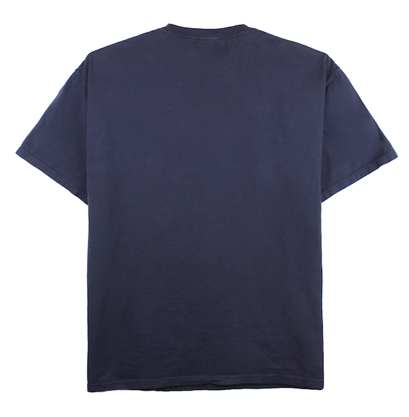 Front view of navy ComfortWash pocket tee with cartoon character design on the chest.