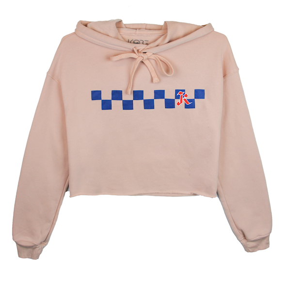 Front view of peach crop top hoodie with centered blue checkers and red k design print. KORE Limited - Keepin Our Roots Eternal