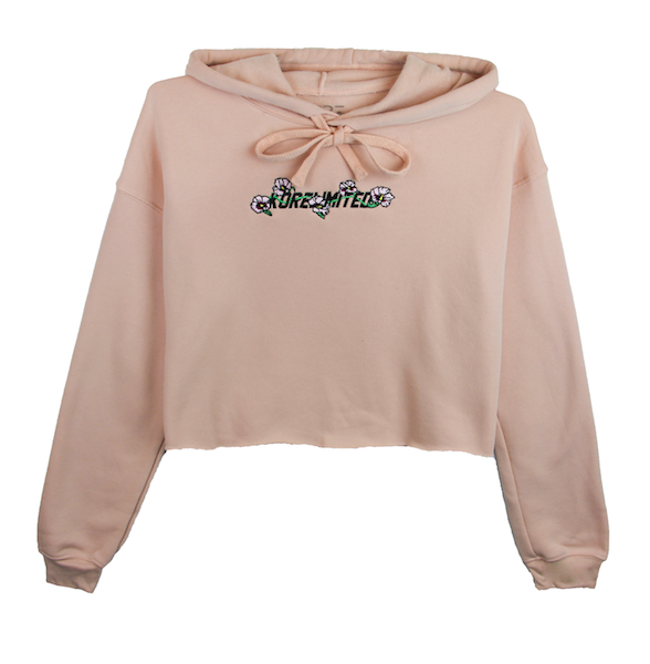 Front view of peach crop top hoodie with mugunghwa (rose of sharon) embroidery on the chest middle. KORE Limited - Keepin Our Roots Eternal