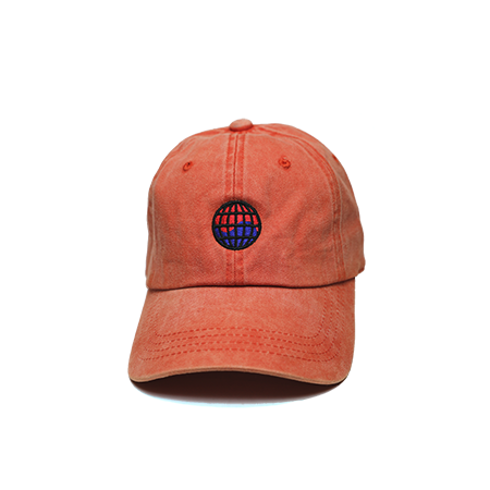 Front view of orange washed dad hat with WorldWide embroidered on the front.