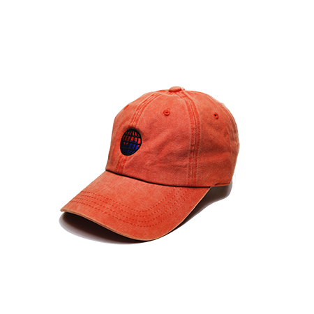 Side view of orange washed dad hat with WorldWide embroidered on the front.