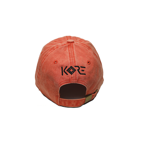 Back view of orange washed dad hat with WorldWide embroidered on the front.