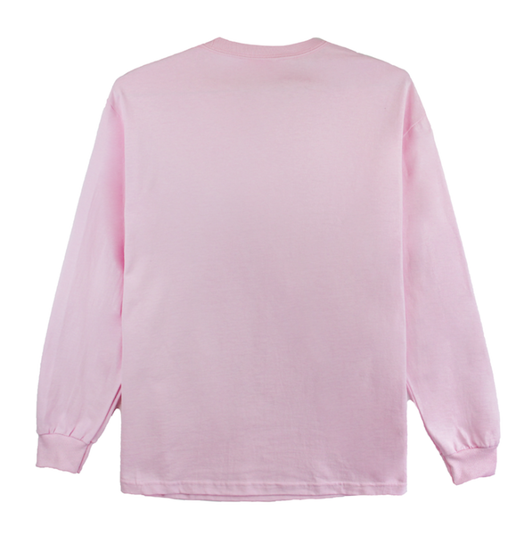 Front view of pink long sleeve with Hani character design printed on the front.