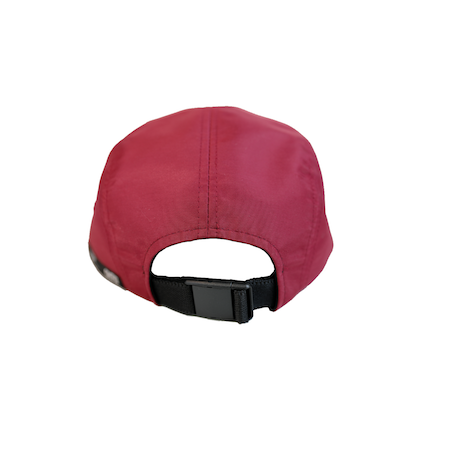 Back view of maroon jockey cap with Hollywood print on the front. KORE - Keepin Our Roots Eternal