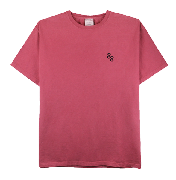 Front view of crimson fall ComfortWash tee with an 88 embroidery on the chest.