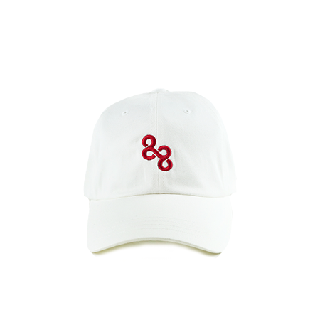 kore streetwear dad hat in red on white with infinity design