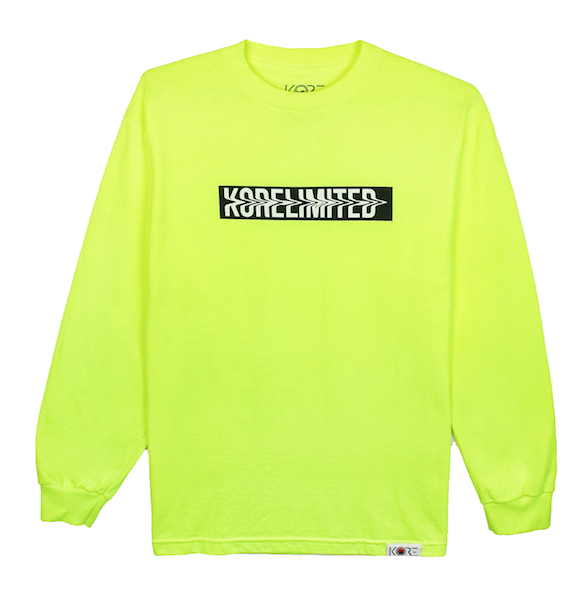 Front view of safety green long sleeve with white KORELIMITED printed on a black box. KORE Limited - Keepin Our Roots Eternal